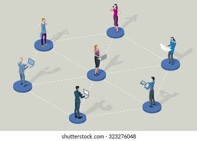 Social network people. They are standing on pedestals / circles. All they are interconnected by their devices (laptop, tablet, smartphones).