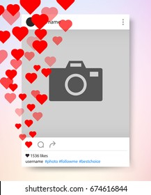 Social network photo frame many heart. Instagram. Vector illustration