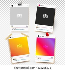 Social network photo frame of set vector illustration. Isolated on transparent background.
