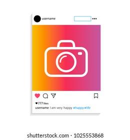 Social network photo frame vector illustration. Modern design . Vector illustration.