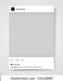 Social network photo frame vector illustration. Instagram. Vector illustration