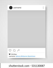 Social network photo frame vector illustration. Instagram. Vector illustration