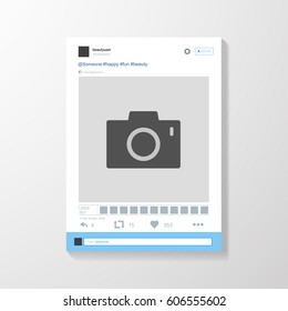 Social network photo frame vector illustration. Twitter. Mock up Vector illustration