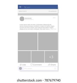 Social network photo, post frame vector illustration. Inspired by Facebook and other social resources. Mock up Vector illustration Modern design of news. Vector illustration