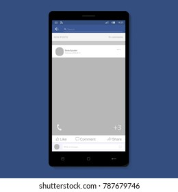 Social network photo, post frame vector illustration in smartphone. Inspired by Facebook and other social resources. Mock up Vector illustration Modern design of news. Vector illustration