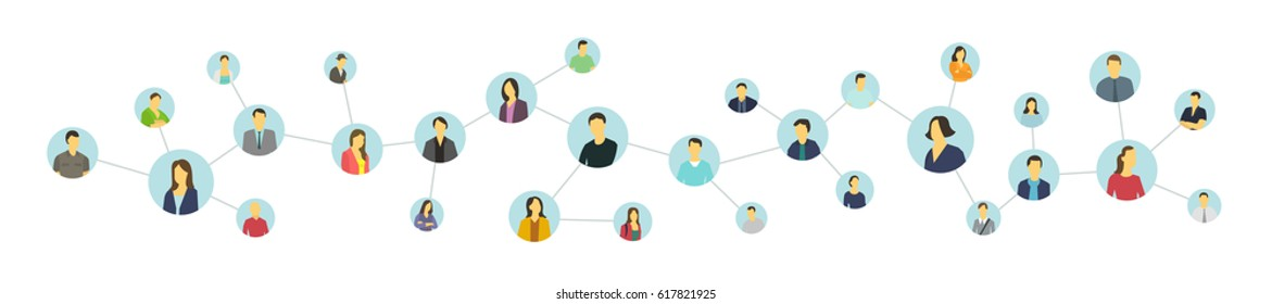 Social network relationship person. United avatars.