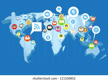 Social network scheme on the Earth map in perspective