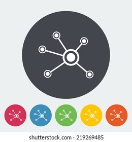 Social network. Single flat icon on the circle. Vector illustration.