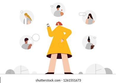 A social network star and character set to follow her. Flat design style vector graphic illustration