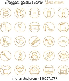 Social network story highlights line icons gold lifestyle blogger
