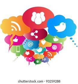 Social network symbols in speech balloons
