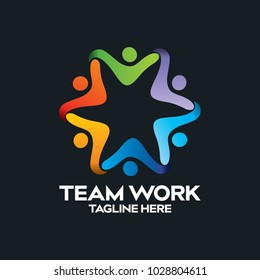 Social Network Team Partners Friends logo design vector