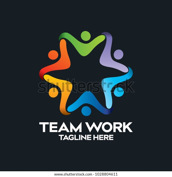 Social Network Team Partners Friends Logo Stock Vector