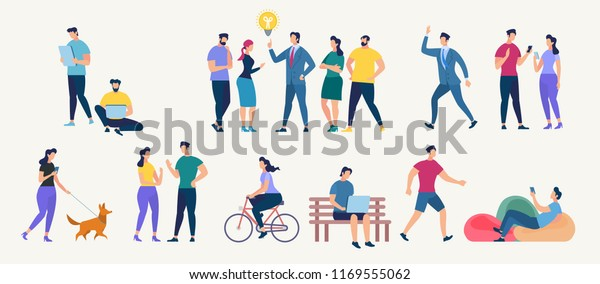 Social Network and Teamwork Concept. Communication systems and Digital Technologies. Networking People and Human Communication Set. Men and Women Talk. Flat style Vector Illustration.