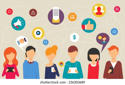 Social network and teamwork concept for web and infographic. Flat design style modern vector illustration for web
