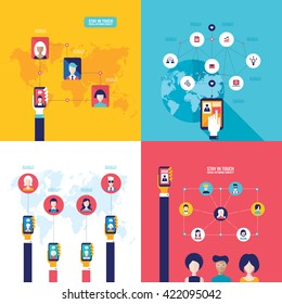 Social Network Technology Banner set People using various electronic devices Tablet and Mobile phone applications