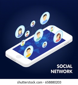 Social network and technology concept Global communication by smart phone mobile internet.