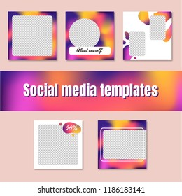 Social network templates. Square banners with liquid gradient mesh. White, yellow, purple, pink. Vector illustrations for the website, posters, newsletters, ads, promotional materials.