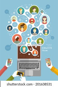 Social Network Vector Concept. Flat Design Illustration for Web Sites Infographic Design. Communication Systems and Technologies. Mobile Phones and Laptop