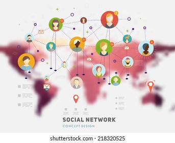 Social Network Vector Concept. Flat Design Illustration for Web Sites Infographic Design. Blurred World Map.