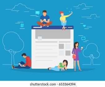 Social network web site surfing concept illustration of young people using mobile gadgets such as smartphone, tablet and laptop to be a part of online community. Flat guys and women sitting