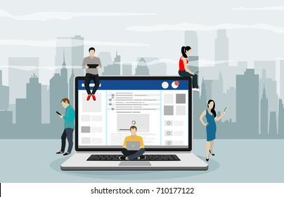 Social network web site surfing concept illustration of young people using mobile gadgets such as smartphone, tablet pc and laptop part of online community. Flat guys, women on big notebook