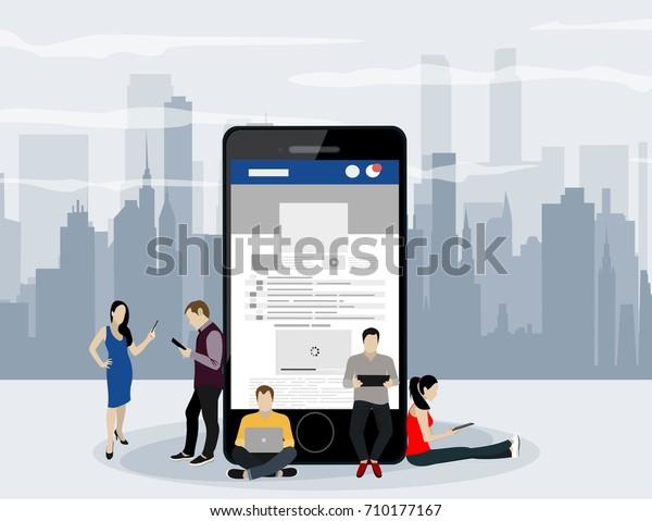 Sitio web de redes sociales, ilustración conceptual de jóvenes que usan dispositivos móviles como smartphone, tablet pc parte de la comunidad en línea. Estilo plano. Ilustración vectorial.
