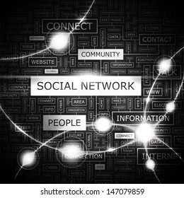 SOCIAL NETWORK. Word cloud illustration. Graphic tag collection. Vector concept collage.