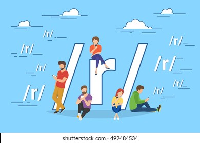 Social networking and blogging concep illustration of young people using mobile gadgets such as tablet pc and smartphone for sharing news via internet. Flat design of guys and women near big symbol