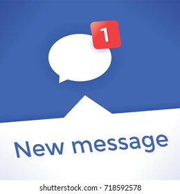 Social networking chat icon with new message symbol. Idea - Online messaging, social media services (Facebook etc.), Internet relationships, friendship and communication in business and modern life.