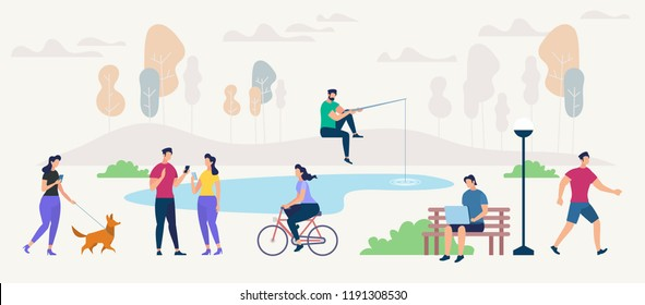 Social Networking and Communication Concept. People using Gadgets walking Outdoors in Park. Networking People set. Digital Technologies and Messaging. Flat style Vector Illustration.