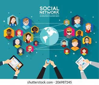 Social Networking People Conceptual Vector Design