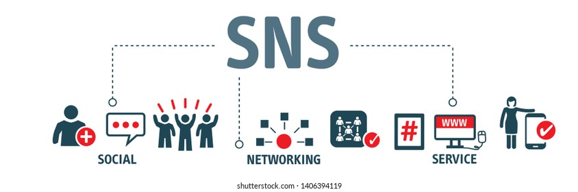social networking service  - SNS - is an online platform which people use to build social networks or social relationship with other people. Vector Illustration with icons