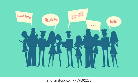 Social networking vector illustration. Bunch of silhouette people.