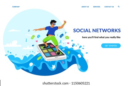 Social networking and young generation. Flat emotional vector illustration for website and landing page design of smiling man surfing the internet on his smartphone in the sea of social media symbols