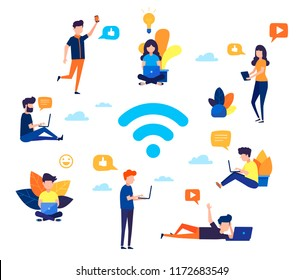 Social networking,chat, video,news,messages,web site, search friends, mobile web graphics. Flat design vector colorful illustration of communication via the Internet in the Wi-Fi zone