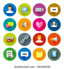 Social Networks icons. Professional vector flat and long shadow icons for your website, application and presentation.