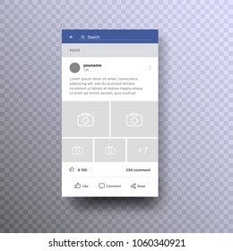 Social page interface concept on mobile. Photo frame. Mock up. Social network photo frame. Interface social page. Stories. Follow. Post. Blog. UI. Template app. Vector isolated