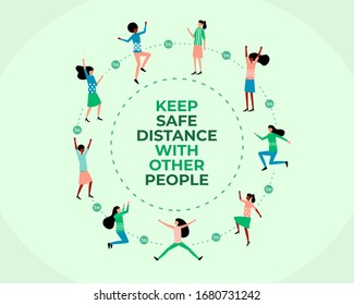 Social and physical distancing, keep safe distance with other people to protect the body from virus infection. COVID-19 Coronavirus. global pandemic. circle group healthy. vector flat illustration