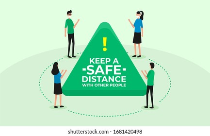 Social and physical distancing, safe distance in public society people to protect from COVID-19 coronavirus outbreak spreading concept, man and woman keep a distance in a meeting. vector illustration
