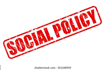 SOCIAL POLICY red stamp text on white