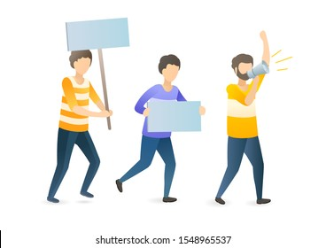 Social, political protest flat vector illustration. Angry mob, protesters crowd with placards and megaphone cartoon characters. Public demonstration, discontent manifestation, civil unrest concept.