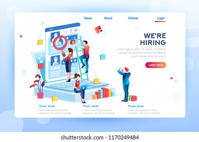 Social presentation for employment. Infographic for recruiting. Web recruit resources, choice, research or fill form for selection. Application for employee hiring. flat isometric vector illustration.