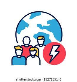 Social problem color line icon.  Discrimination, conflicts, crime. Sign for web page, mobile app, banner, social media. Editable stroke.
