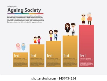 Social problem of old society wwith aged, retired, senior and elderly men. Vector, illustration