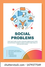 Social problems, issues poster template layout. Social disorganization. Antisocial behavior. Banner, booklet, leaflet print design with linear icons. Vector brochure page layouts, advertising flyers