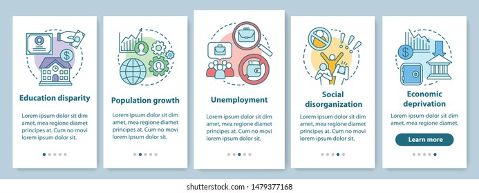Social problems onboarding mobile app page screen with linear concepts. Unemployment, economic deprivation, population growth walkthrough graphic instructions. UX, UI, GUI vector template with icons
