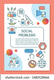 Social problems poster template layout. Social disorganization, conflicts, crimes. Banner, booklet, leaflet design with linear icons. Vector brochure page layouts for magazines, advertising flyers