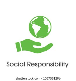 Social Responsibility with green Hand and globe
