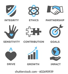 Social Responsibility Solid Icon Set with Impact, Ethics, Partnership, drive, etc
